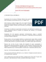 Decreto Del Presidente Della Repubblica 30 Luglio 2012