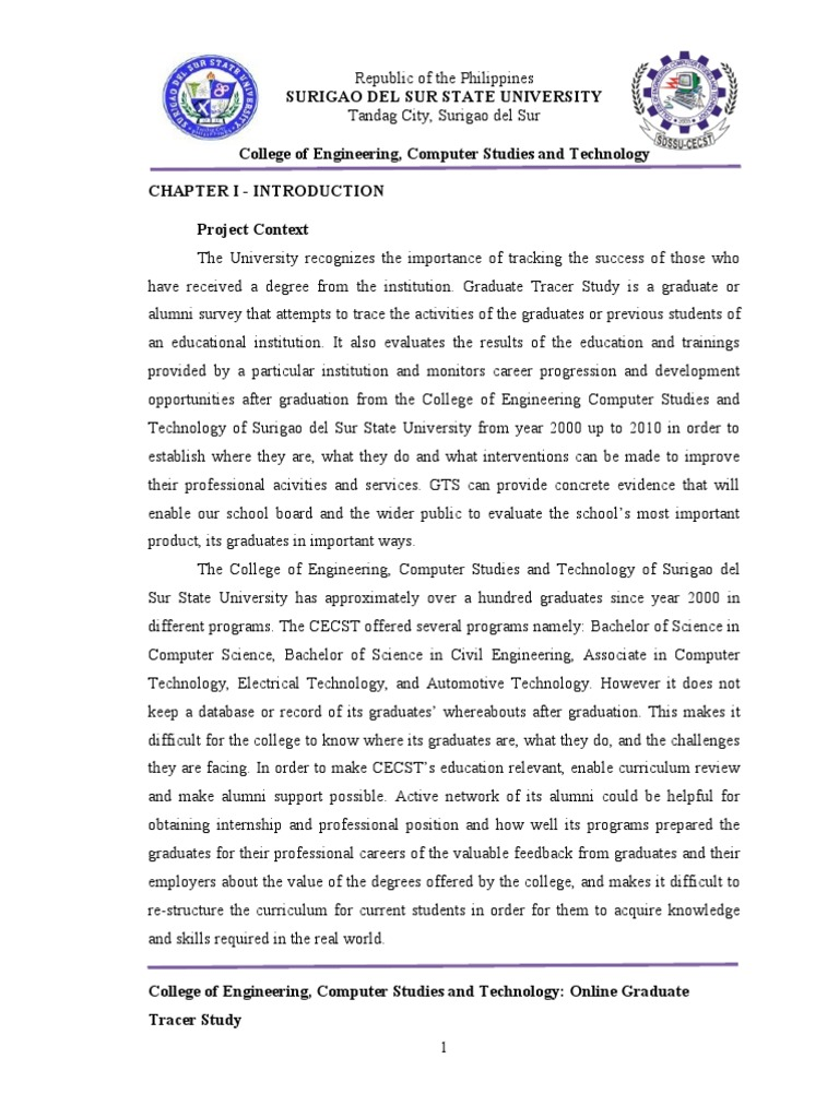 tracer study of graduates thesis Tracer study of teacher education graduates by prevanand ramrathan a dissertation submitted in partial fulfillment of the requirements for the degree of.