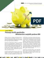 Placanje bivsih uposlenika Ministarstva spoljnih poslova BiH