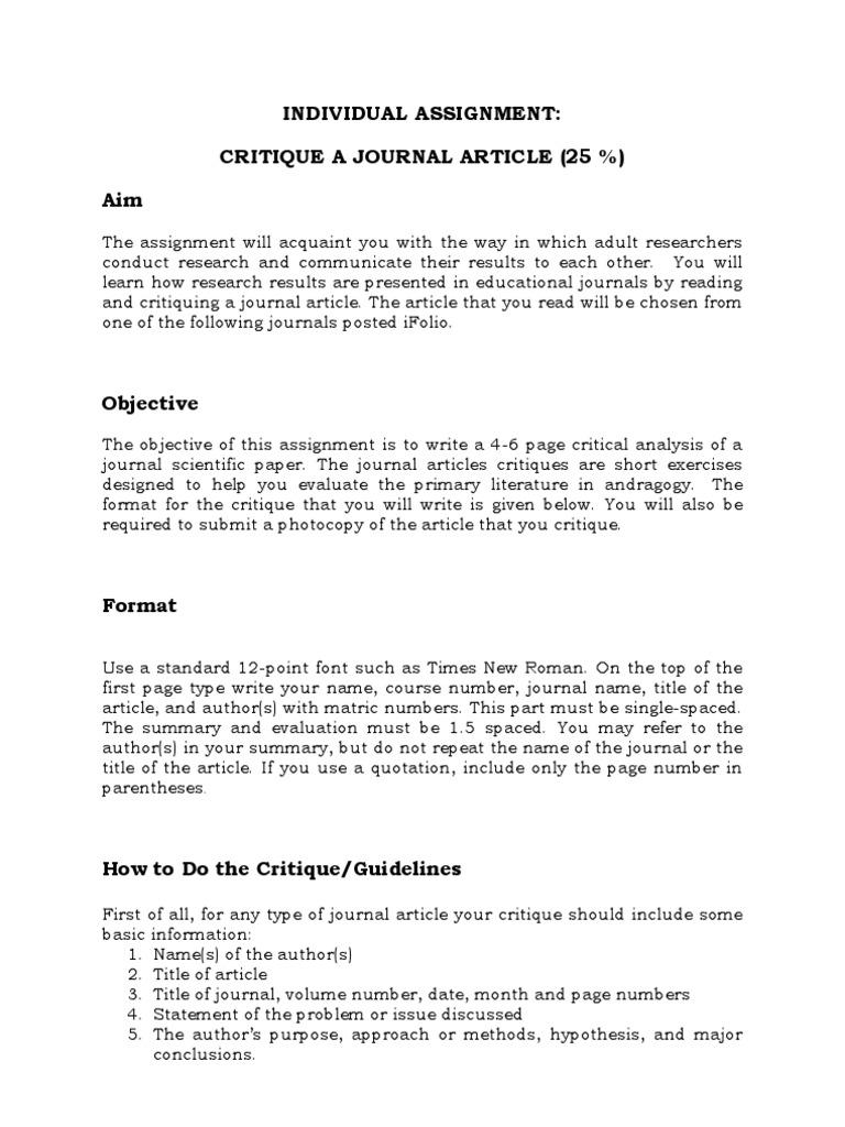 critique of a scientific research paper
