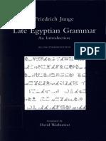 Junge f Late Egyptian Grammar Yunge f Pozdneegipetskaya Gram