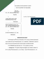 Senju Pharmaceutical Co., et al. v. Lupin Limited, et al., C.A. No. 11-271-SLR (D. Del. Dec. 14, 2012).