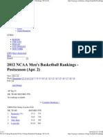 A. Men's Basketball Rankings Espn101012