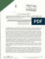 PROPOSICION DE LEY PARA LA NO DISCRIMINACION POR MOTIVOS DE IDENTIDAD DE GENERO Y DE RECONOCIMIENTO DE LOS DERECHOS DE LAS PERSONAS TRANSEXUALES