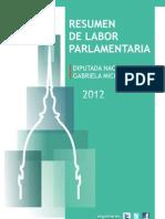 Resumen de labor parlamentaria 2012 Diputada Nacional Gabriela Michetti