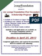 2013 Flyer Post Secondary Scholarship