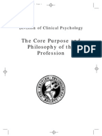 Core purpose and philosophy of the clinical psychology profession