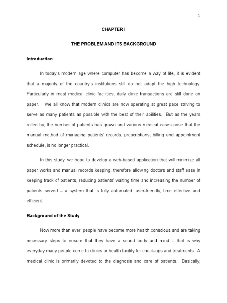 Background of the study thesis proposal