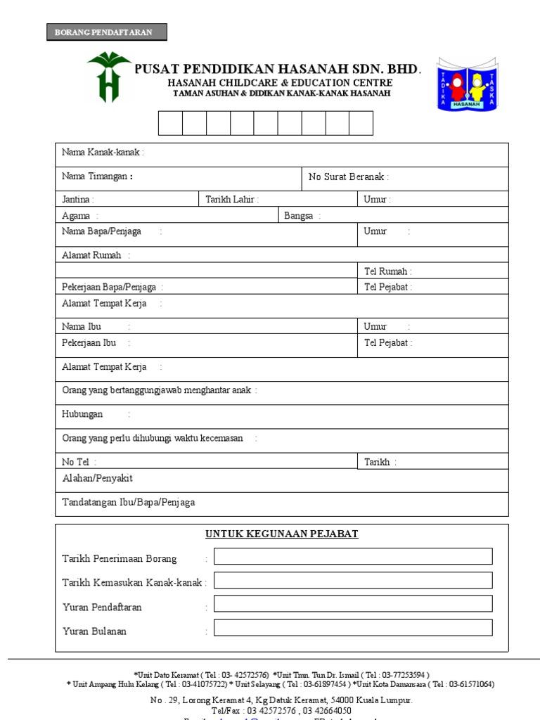 Contoh Borang Pendaftaran Tadika