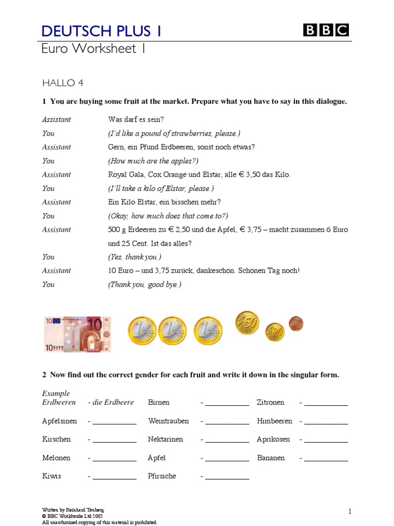Deutsch Plus plus Answer Key and Test