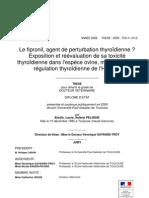 Le fipronil, agent de perturbation thyroïdienne ? Exposition et réévaluation de sa toxicité thyroïdienne dans l'espèce ovine, modèle pour la régulation thyroïdienne de l'Homme