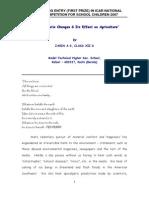 Effect of Global Warming - An Essay