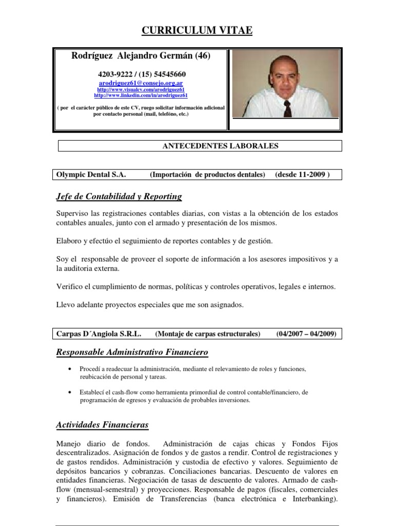 Único Currículum Vitae Contable Patrón - Ejemplo De Currículum ...
