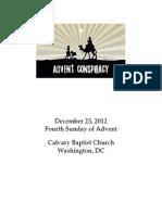 Bulletin for Sunday, December 23, 2012