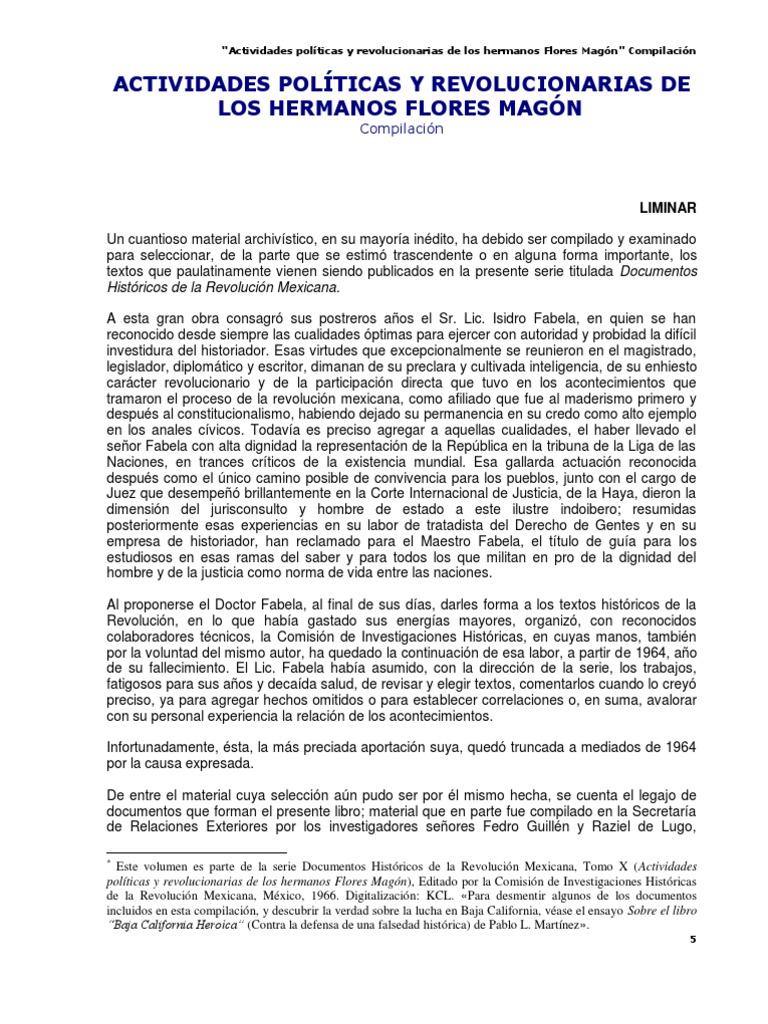 ACTIVIDADES POLÍTICAS Y REVOLUCIONARIAS DE LOS HERMANOS FLORES MAGÓN ...