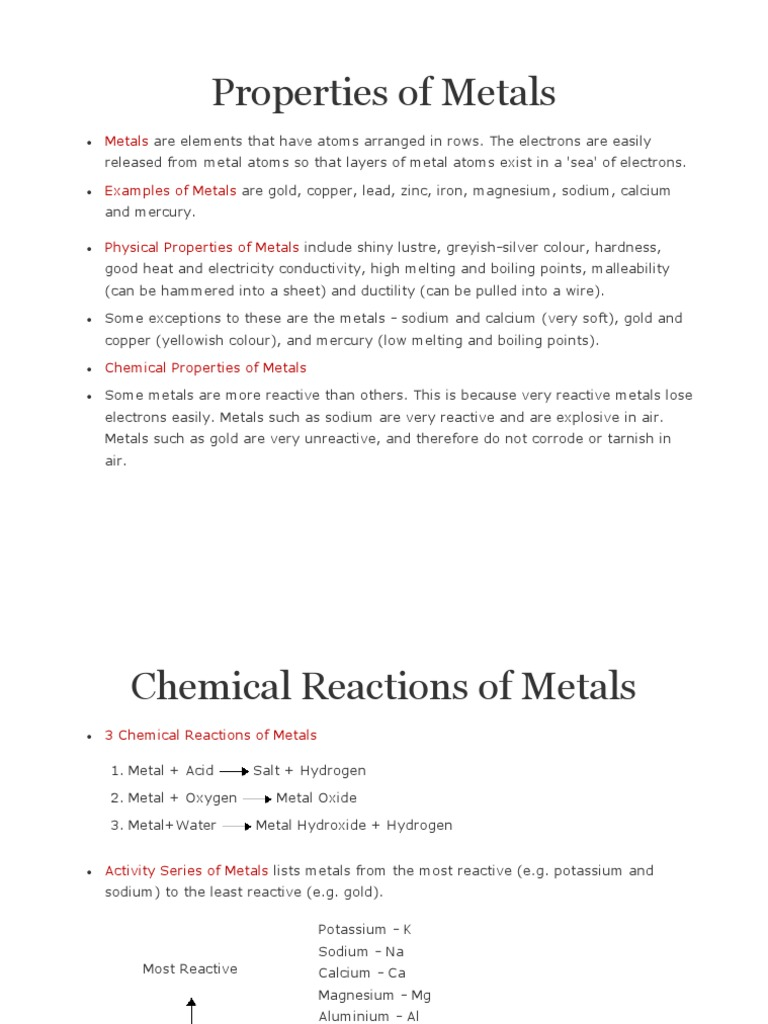 Properties Of Metals Smelting Metals
