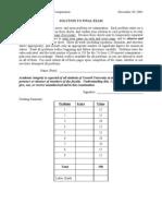 241 Final Exam Solution Fa01