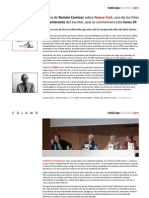 "Centenario de Ramón Carnicer e información sobre la nueva edición de  ""Nueva York. Nivel de vida, nivel de muerte"" (ed. Cálamo)"