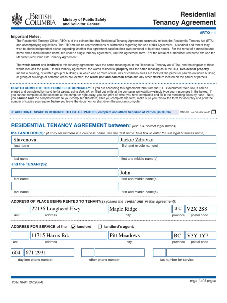 Tenancy Agreement British Columbia Leasehold Estate Landlord