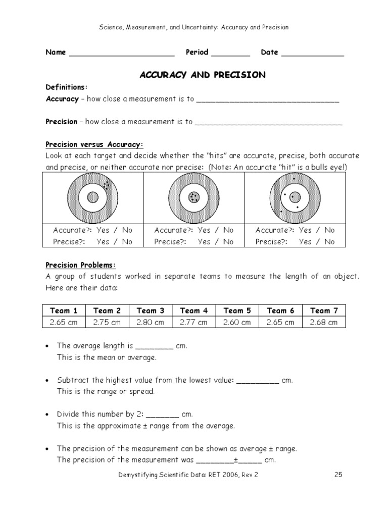 Worksheets Scientific Measurement Worksheet accuracy and precision worksheet switchconf final precision
