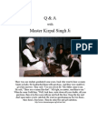 Q and A with Master Kirpal Singh
