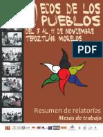 Relatorias ECOS de Los Pueblos 2012