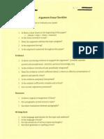 Argument Essay Checklist