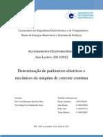 Determinação de parâmetros eléctricos e mecânicos da máquina de corrente contínua