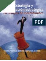 Estrategia y planificación estratégica en tiempos de incertidumbre