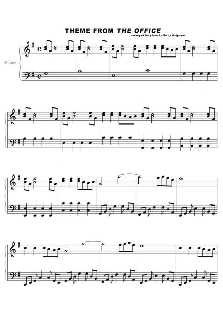 theme song to the office piano sheet music