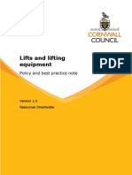 Lifts and Lifting Equipment Policy and Best Practice Note