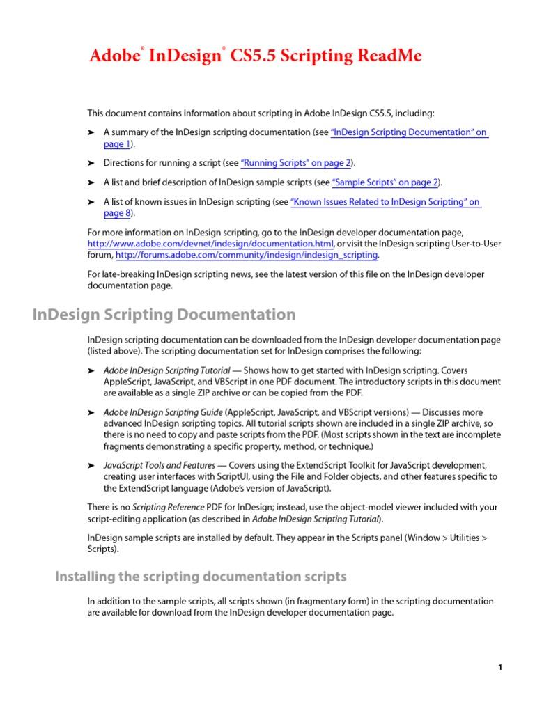 indesign cs5 5 scripting read me scripting language adobe in design rh es scribd com