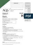 AQA GCSE Physics Unit 1 Higher Question June 12