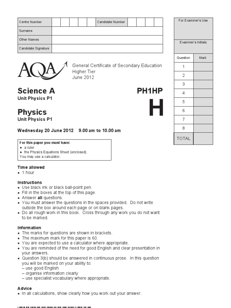 physics gcse unit 1 aqa Skills and understanding developed during gcse physics 33 unit 1: physics 1 skills and knowledge in one investigation chosen from those supplied by aqa.