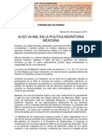 ALGO VA MAL EN LA POLÍTICA MIGRATORIA MEXICANA - Comunicado - Grupo de Trabajo. Ley Migratoria mayo 24 de 2011.