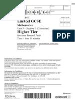 GCSE Maths 320321 Unit 3 Higher Section B Nov 2007(specimen)