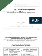 DoD Military Critical Technologies List (MCTL) - Part II, Weapons of Mass Destruction (WMD) Technologies