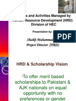 Human Resource Development @ HEC, Pakistan