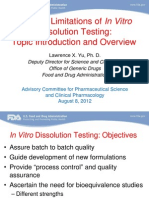 Use and Limitations of In Vitro Dissolution Testing