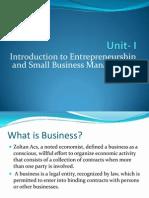 Unit- I Entrepreneurship Development