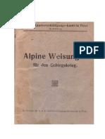Alpine Weisungen für den Gebirgskrieg