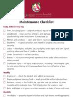 Simple vehicle maintenance checklist.