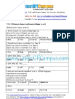 TCS Reasoning Placement Paper