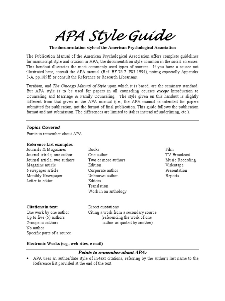 Apastyle apa style citation ccuart Image collections