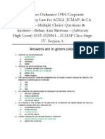 Multiple Choice Questions---Companies Ordinance 1984/ Corporate Law/ Company Law for ACMA (ICMAP) & CA Students--Rehan Aziz Shervani----Abdul Wahid Ali (Co-researcher)
