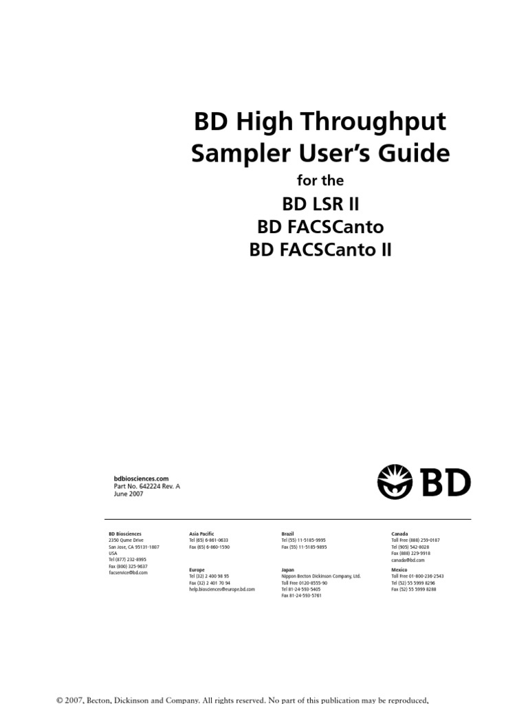 Bd facscanto options reference manual | electromagnetic.