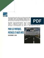 dimensionnement des massifs de fondation pour les portiques, potences et haut mâts