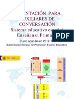 Orientación para Auxiliares de Conversación. Sistema educativo espanol. Enseñanza Primaria 2012-2013