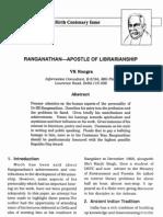 Rangra Ranganathan Apostle of Librarianship 1992