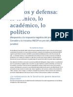 Jurados y defensa:lo técnico, lo académico, lo político.